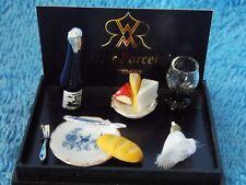 New Miniature Doll House Reutter Porzellan Wine Cheese Bread & More Set