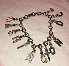 silver tone charm Washington Dc rhinestone Vintage Jewelry Bracelet 7 1/2 inch