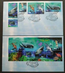 1998 Australia Planet Ocean Fish Dolphin Shark Whale Seadragon Squid FDC (pair)
