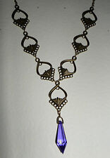 ART NOUVEAU STYLE FACETED PURPLE & DARK GOLD PLATED PENDANT NECKLACE JN