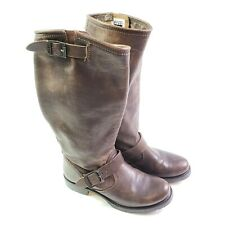 Frye Womens 7 (B) Brown Leather Veronica Slouch Harness Boots Buckle Moto