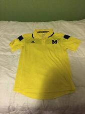 Mens S Adidas University of Michigan Football Yellow Sideline Polo