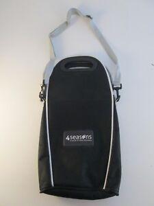 4 Seasons Wine Bottle Tote Bag Caddy Black w/ Shoulder Strap Hold Up to 2 Bottle