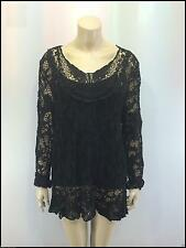Ladies 2 in 1 Italian Long Sleeve Crochet Top Tunic Lace Mesh One Size Plus Black