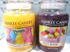 Yankee Candle JELLY BEANS & PEEPS MARSHMALLOW CHICKS 22 oz Lg Jars EASTER USA