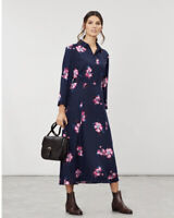 JOULES CARLA NAVY SPACED FLORAL PRINT LONG SLEEVE MIDI SHIRT DRESS SIZE 10