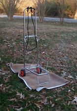 Folding Metal Luggage Cart Rack With Wheels Dolly Caddy Carrier