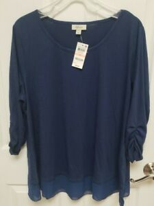 NWT Style&Co 2x Chiffon Hem Blouse Mountain Blue ruched 3/4 sleeve
