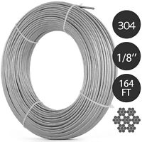 T304 Stainless Steel Cable 1/8 Inch 7x7 Wire Rope Cable 164ft Strand Winch Rope