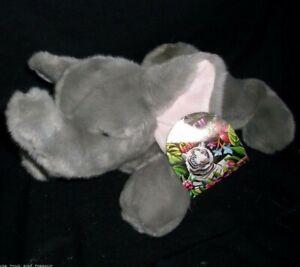 "12"" AURORA WORLD FLOPSIES GREY ELEPHANT BABY STUFFED ANIMAL PLUSH TOY SOFT W TAG"