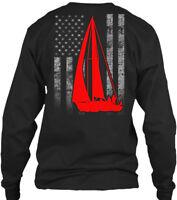 Sailing Design Sailboat Flag Amz Gildan Long Sleeve Tee T-Shirt