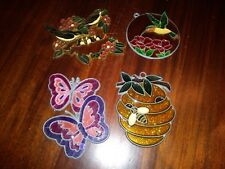 Set of 4 Suncatchers Very Colorful Hummingbird Butterflies Honey Bee Birds