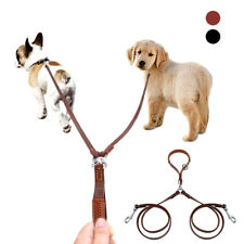 2 Way Genuine Leather Dog Leash for Two Dogs Walking Double Pet Coupler Leash