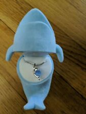 Silver Dolphin Necklace With Blue Stone
