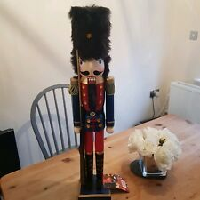 CHRISTMAS NUTCRACKER SOLDIER LARGE 60cm CMS SPARKLY blue gold wooden