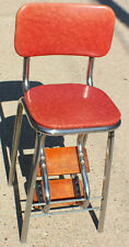 Vintage Kitchen Step Stool Chair Ladder Retro 1050's Coral Red Chrome