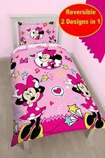 NUOVO Disney Minnie Mouse Stile COPRIPIUMINO SINGOLO ROSA Quilt Cover Set di biancheria da letto ragazze