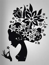 FLOWER HAIR GIRL Decal WALL STICKER Art Home Decor Stencil Silhouette SST007