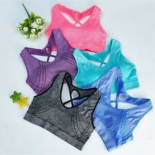 Women Yoga Sports Running Bra Crop Top Vest Stretch Shape Padded Sexy [UK]