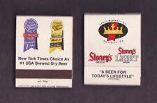 2 Stoney's Beer & Stoney's Light Matchbooks Jones Smithton PA NY Times #1 Choice