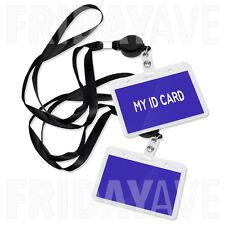 "2x Horizontal Retractable Badge Reel Lanyard ID Card Holder 18"" Long Neck Strap"