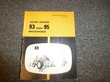 John Deere Models 93 & 95 Backhoe Owner Operator Maintenance Manual Omu40033