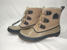 New Sorel Joplin rain boots Plaid Waterproof Light Tan Women's Lace Up Brown 8.5