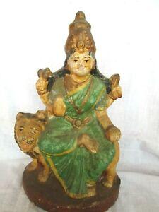 Antique Pottery Terracotta Hindu Goddess Durga On Lion Figurine Idol Statue u12