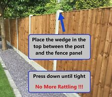 More details for fence panel noise stoppers - stops rattling & banging in wind wedge clips (x 10)