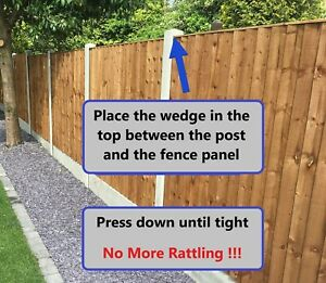 FENCE PANEL NOISE STOPPERS - STOPS RATTLING & BANGING IN WIND WEDGE CLIPS (x 10)