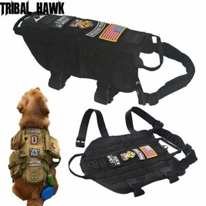 Dog Vest Harness Collar Leash Tactical Military Training K9 Adjustable Police