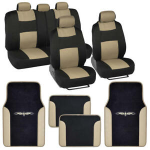 Car Seat Covers Set Black and Beige w/ PU Leather Trim Carpet Pads Floor Mats