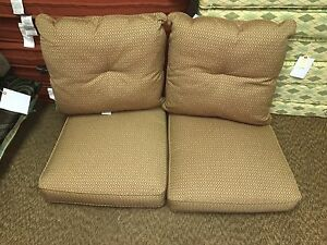 Frontgate Outdoor Patio PARK PLACE Loveseat Cushions Williamston Clay 50x26 NEW