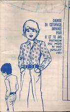 ▬► PATRON Couture Modes et Travaux - Chemise 8 à 10 ans Juillet 1971