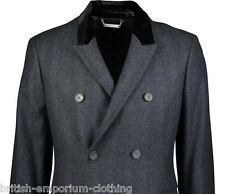 AQUASCUTUM Charcoal Grey DB Herringbone Black VELVET COLLAR Coat BNWT IT48 UK38