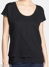 NWT $175 Vince Layered Linen Silk Chiffon Top Tee Black Size M