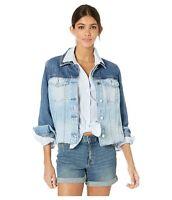 New BLANKNYC Denim Jacket Womens Size Small Two Tone Blue Fray Hem