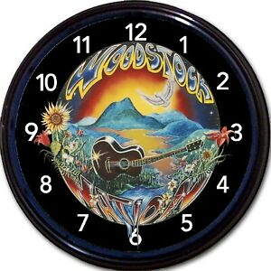 """Woodstock Nation Music Festival 1969 Wall Clock Peace Guitar Hippie New 10"""""""