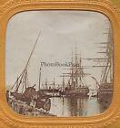 Canal de Suez ? bateau à voile Belle scène Marine Stéréo Vintage albumine c 1860