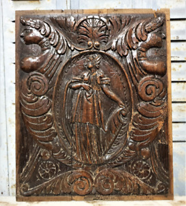 Caryatid lady scroll wood carving panel Antique french architectural salvage
