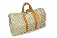 LOUIS VUITTON N41430 Damier Azur Keepall 50 Boston Hand Bag Duffle Bag White