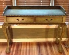 Chippendale Style Writing Desk Console Entry Table Preowned Distressed Nice