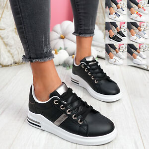 WOMENS LADIES LACE UP TRAINERS TWO TONE SNEAKERS PLIMSOLLS WOMEN SHOES SIZE
