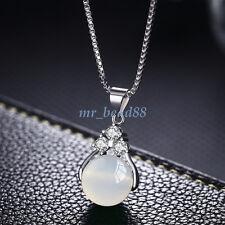 Natural Quartz Crystal Stone Round Gemstone Bead Pendant Necklace Charm Jewelry