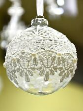 Clear Glass Ball Bauble With Laces, Christmas Tree Ornament Decoration N2#