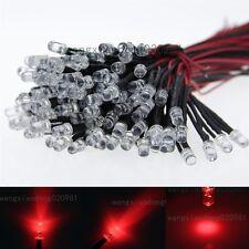 100pcs 5mm Pre Wired Red LED Light Lamp Bulb 20cm Prewire Led 24V DC