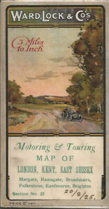"""OLD WARD LOCK ROAD MAP (3m to 1"""") - section 21 - LONDON, KENT, E. SUSSEX - 1920s"""