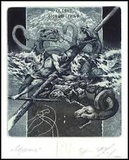 Naidenov Hristo 2004 Exlibris C3 Odysseus Mythology Dragon Snake Nude Marine 33