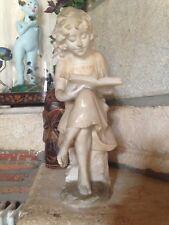 XIXe Sculpture Albâtre signée A. Del. PERUGIA Jeune fille La lecture Statue