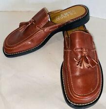 Franco Sarto Reddish Brown Leather Flats Mules Slides Slip-On Tassel Size 6M
